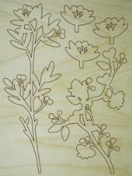 Dimensional Art MDF Branch & Flower Plywood Kit 38cm x 50cm